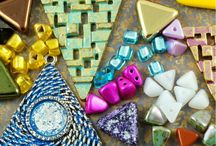 Triangle Czech Glass Beads and Charms