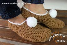 sapatilhas de lã de crochê
