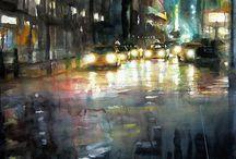 watercolor night