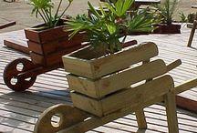 porta macetero madera