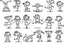 Dessins : enfants (postures)