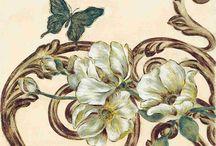 Kwiaty, Motyle, Liście