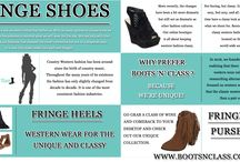 Fringe Shoes / Women's fringe shoes are very girly and cute and tend to be associated with cowgirls. Browse this site http://www.bootsnclass.com/ for more information on fringe shoes. They are, however, shoes can be worn by anyone and when you desire to wear shoes; you just have to know how to make them work for your outfit or how to make the outfit work for the stylish fringe shoes.  Follow us: http://www.folkd.com/user/texastshirts