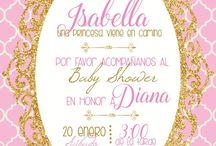 decoracion en rosa y dorado cumple 3 ISABELLA