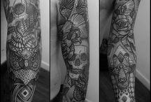 Full sleeve tattoo / Owl..skull head..Fearn...eagle...giraffe