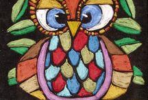 • Owl on Black Paper / Pastel Owl on Black Paper