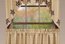 Country Curtain Tiers & Valances with Star Motifs