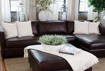 Dark brown sofas