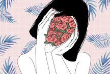 b—aestethic girl illustrasion