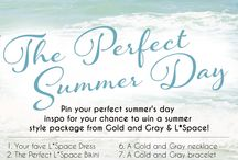 """#PIN2WIN : The Perfect Summer Day / Enter our """"Perfect Summer Day"""" Pin-To-Win contest! One lucky lady will take home a Summer prize package with an L*Space bikini & coverup AND a Gold and Gray bracelet & necklace! See more details here: http://bit.ly/1riHkMg"""