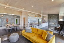 Lockwood Homes Design and Build Beauty / A stunning Lockwood Design and Build home built in Peka Peka, Kapiti Coast of New Zealand. Loads of stone schist work, blonded white wooden interiors for Scandinavian style.