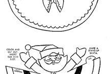 Ren și Moş Crăciun de colorat și decupat- Doamna Camelia!!!