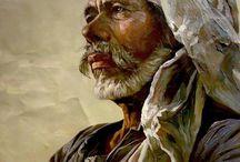 портреты, натюрморты гуашью