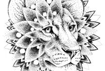 tattoo Lion Dotwork
