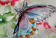 Water Color Arts / Full of water colored art, circles and flowers.