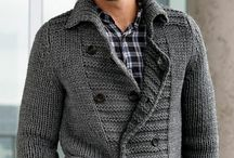 Man knitting cardigan