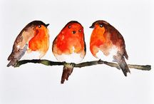 Aquarelle 3 oiseaux