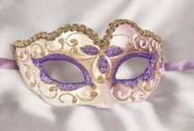 Purple Masquerade Ball Masks / A selection of purple and lilac masks available from Just Posh Masks. Masks with feathers, half face masks, carnival masks all with gold or silver trim