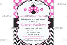 Ladybug Pink and Black Baby Shower / This collection features a cute pink ladybug. The background consists of pink polka dots, black chevrons and a black ribbon with a dotted border.