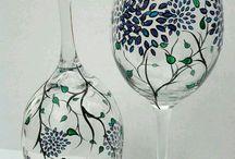 Окрашенные бокалы