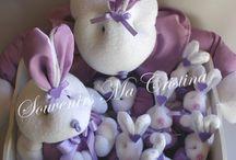Souvenirs  conejos ,nacimientos , Baby shower , bautismo /  Souvenirs  presentados en caja  , cartel puerta y central