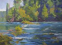 "Artist Linda Curtis / Whitewater rafting and traveling with husband and dogs fuels her inspiration. You can find her on a river bank, in a field, or by the edge of a marsh.  ""Being out in nature allows me to study the nuances needed to convey my interpretation of the scene."""