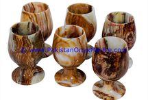 ONYX SHOT GLASS SET MINI GLASSES GOBLETS MULTI BROWN ONYX HANDCARVED POLISHED