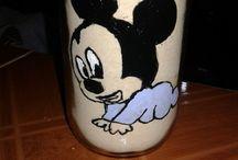 pintura acrilico / pintura en vidrio con acrilico facil tema mickey mouse
