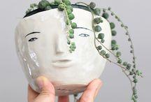 keramická hlava nádoba