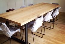 Eiken maatwerk tafels / Eiken maatwerk tafels van massief hout. Modern, strak, landelijk, industriel. Met een onderstel van staal of RvS!