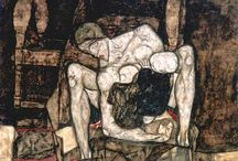 Egon SCHIELE / Egon Schiele (1890 – 1918) was an Austrian painter. A protégé of Gustav Klimt, Schiele was a major figurative painter of the early 20th century. His work is noted for its intensity, and the many self-portraits the artist produced. The twisted body shapes and the expressive line that characterize Schiele's paintings and drawings mark the artist as an early exponent of Expressionism.