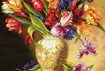 vyšívání - květiny / květiny