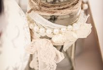 jam jars lace burlap and babes breath / This is a collection of jam jars with floral inserts and gyp / babes breath.  with a little burlap :) / by Camillepurepictures Watson