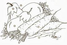 Desenho de frutas e legumes
