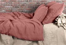 Linen Bedding in Brick & Pale Rose / Duvet Covers, Pillowcases, Flat and Fitted Sheets from French Flax linen fabric.