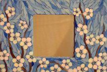 Miroir mosaique fleurs de pommier