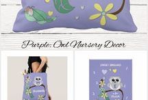 Nursery Decor cute owl purple