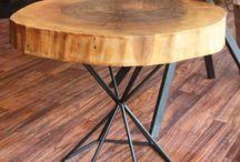 Kütük Zigon Sehpalar - Live Edge Wood / Doğal ağaç kütüklerinden ve özel üretim metal ayaklardan kütük sehpa modelleri