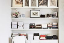 Photos on bookcases