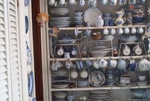 """decorating with dishes / China is my main collectible/use love.  I buy it often and collect at least a couple of pieces each week.  The dishes in this bookcase full of china I call the """"nuns"""" dishes because most of them were bought at an auction of a convent's goods!"""