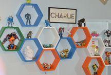 Boys room / Honey comb shelf, transformer collection
