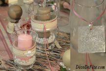 Déco de Table Lin et dentelle / Pour un mariage, baptême ou un anniversaire, cette décoration de table sera parfaite pour créer une ambiance douce ou romantique.