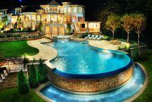 Shimmering, serene backyard pools