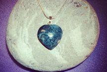Silver & GEMSTONE Heart PENTANTS