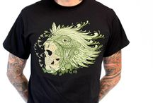 Mens Clothing / Men's printed t-shirts.  Designed and printed in Oakland,  California.   Most shirts are printed on 100% cotton tees.