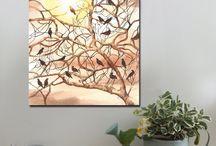 Birds / Canvas art prints, A1 and A2  www.splashyartystory.com