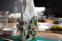 Micro dioramas, terrarium scenes