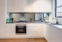 kitchen with mirror