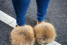 papuci cu blana