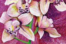 Paintings of Orchids / These are one of my most favourite flowers. They are also so fantastic to paint. There is such a variety of shapes and colours. I am always impressed by the wide variety of art inspired by these beautiful plants.
